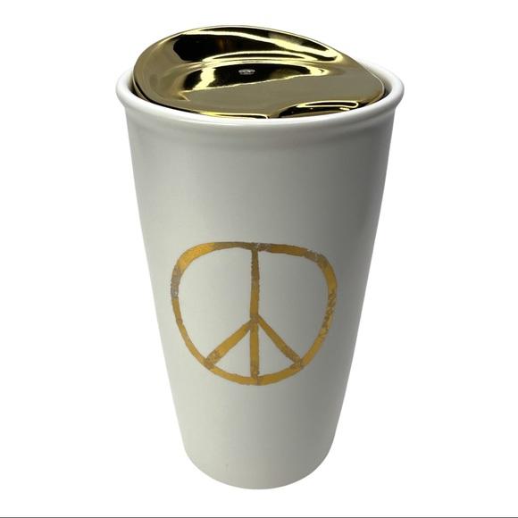 Starbucks 2015 Gold Peace Ceramic Lid Tumbler 12oz